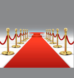 elegant red carpet with round podium celebrity vector image