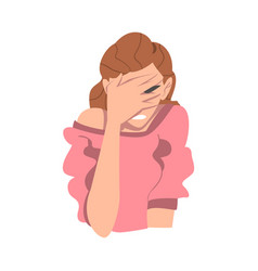 Embarrassed woman covering her face with hand vector