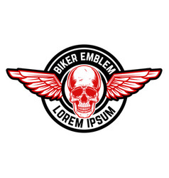 Emblem with winged skull design element for vector
