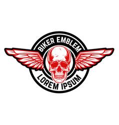 emblem with winged skull design element vector image