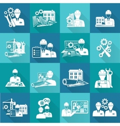 Engineer icon white vector image vector image
