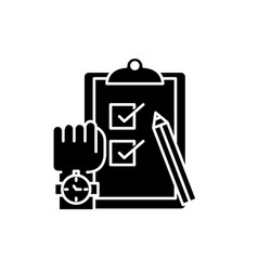 exams black icon sign on isolated vector image