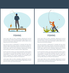 Fishing or angling hobby or sport activity poster vector