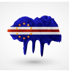 Flag of Cape Verde painted colors vector