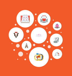 flat icons engagement building card and other vector image