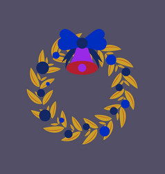 Flat on background of christmas wreath vector
