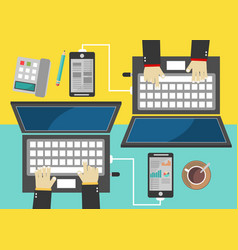 flat style business concept of working place vector image