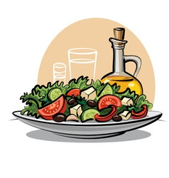 Fresh green salad vector