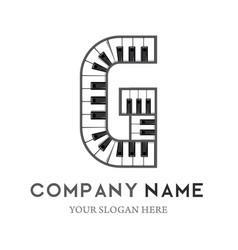 g letter logo design piano keyboard logo vector image