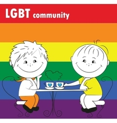 gay couple sitting in a cafe the LGBT community vector image