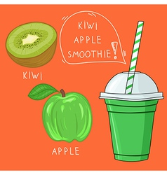 Glass with kiwi apple smoothie natural bio drink vector