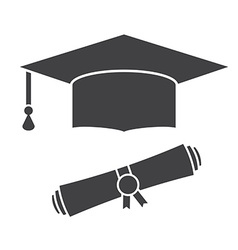 Graduation Hat and Diploma Outline Icon vector