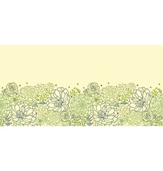 Green succulent plants horizontal seamless pattern vector image
