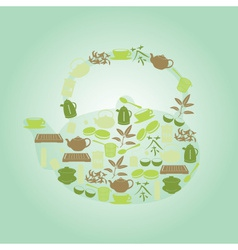 Green tea icons in teapot shape eps10 vector