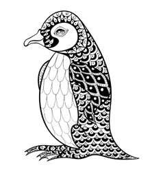 Hand drawn artistically King Penguin zentangle vector image