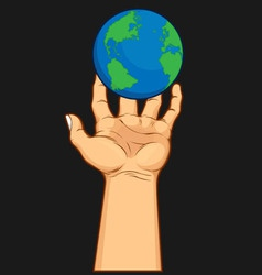 Hand Grasping the World vector image