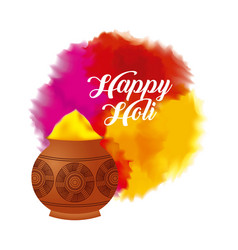 Happy holi color powder decorated poster vector