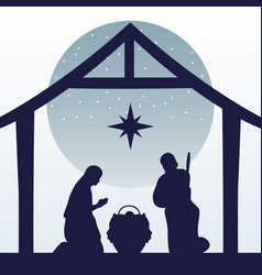 Happy merry christmas manger scene with holy vector