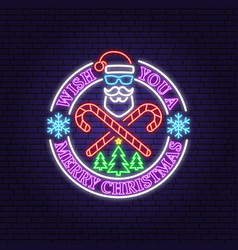happy new year neon sign with santa claus vector image