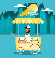 ice cream salesman in cart kiosk character vector image