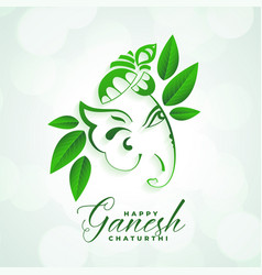 Indian festival happy ganesh chaturthi eco vector