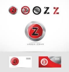 Letter Z metal red logo vector image
