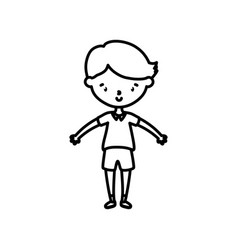 little boy infant cartoon character line style vector image