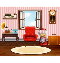 Living room with vintage objects vector