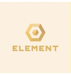 Logos element volume and flat polygon style vector image