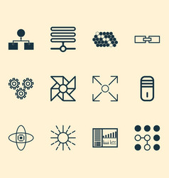 machine icons set with control panel processor vector image