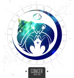 Magic card with astrology cancer zodiac sign vector