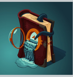 Magic travel book cartoon style game design vector