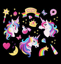 magic unicorn icon set with magic wand stars vector image