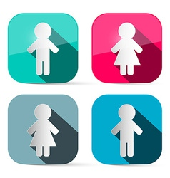 Man and Woman Icons - Buttons Web Symbols in vector image