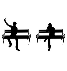 men with phone on a bench vector image
