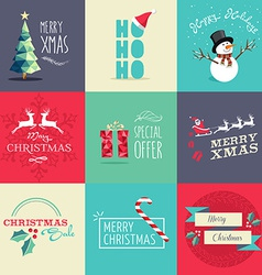 Merry Christmas flat elements set vector image