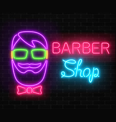 Neon barber shop glowing signboard with hipster ma vector
