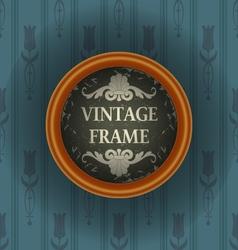 Old wallpaper with vintage frame vector image