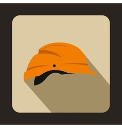 Orange hardhat icon flat style vector