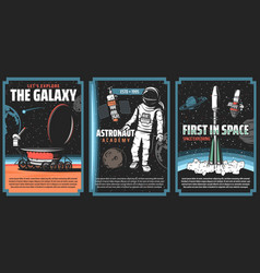 outer space explore retro vintage posters vector image