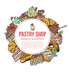 Pastry shop sketch template for desserts vector