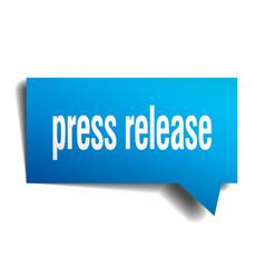 Press release blue 3d speech bubble vector