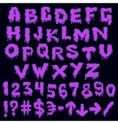 Purple font smudges alphabet splashing vector image