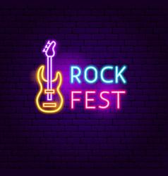 Rock fest neon sign vector