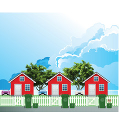 row residential houses recycling day vector image