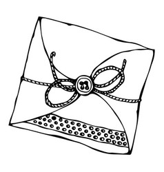 Scrapbooking style envelope with tape or ribbon vector
