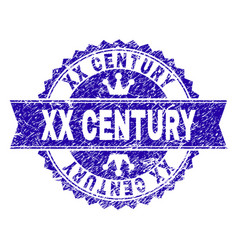 Scratched textured xx century stamp seal with vector