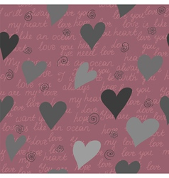 Seamless pattern made of hearts and romantic handw vector image