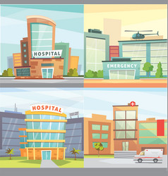 set hospital building cartoon modern vector image