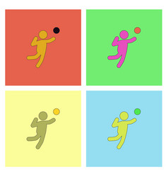 Set icons of volleyball on color background eps-10 vector